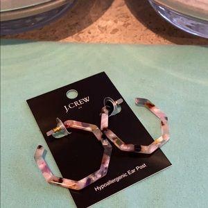 J. Crew Tortoise multi color hexagon earrings.